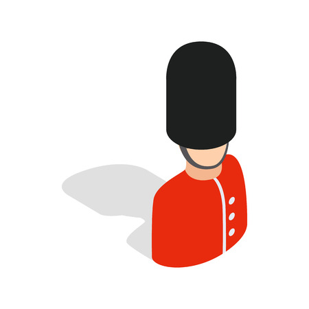 sentry: Royal guardsman icon in isometric 3d style isolated on white background. Security symbol