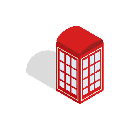 telephone booth: Red telephone booth icon in isometric 3d style isolated on white background. Conversations symbol