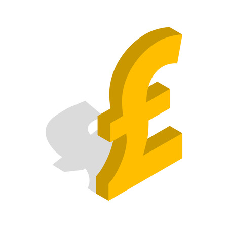 Sign Of Pound Sterling Icon In Isometric 3d Style Isolated On