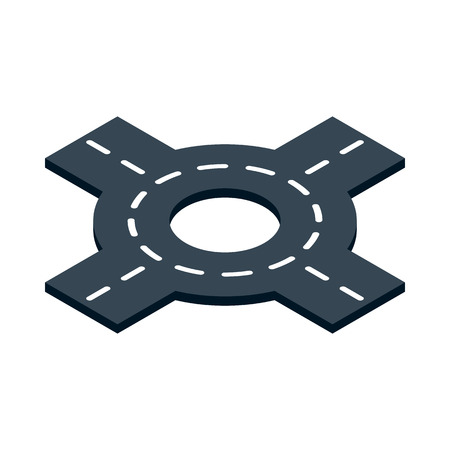 interchange: Circular transport interchange icon in isometric 3d style isolated on white background