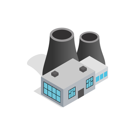 powerhouse: Thermal power station icon in isometric 3d style isolated on white background