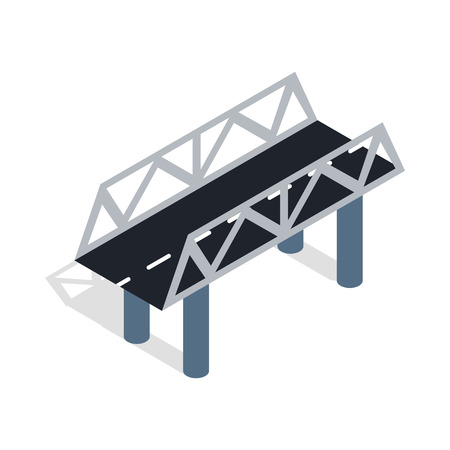 rope bridge: Road bridge icon in isometric 3d style isolated on white background
