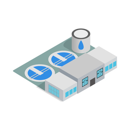 Water treatment building icon in isometric 3d style isolated on white background Vettoriali