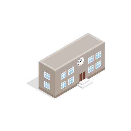 apartment bell: School building icon in isometric 3d style isolated on white background