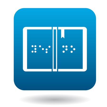 braille: Libro escrito en Braille en icono de estilo simple sobre un fondo blanco Vectores