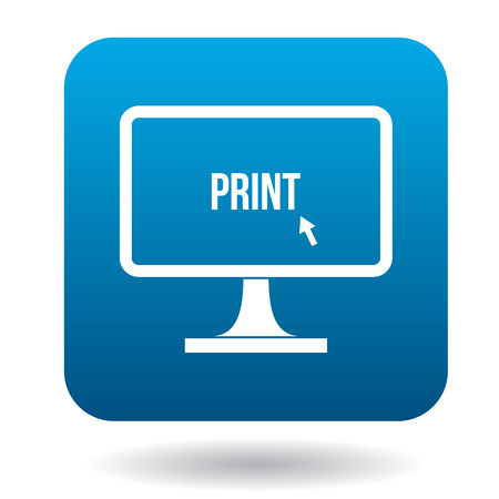 lcd monitor printer: Print word on a computer monitor icon in simple style on a white background Illustration