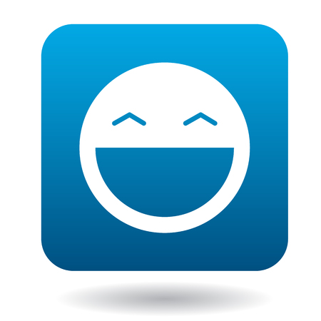 open mouth: Laughing emoticon with open mouth and smiling eyes icon in simple style on a white background