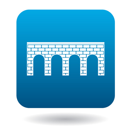 arches: Bridge of brick with arches icon in simple style on a white background