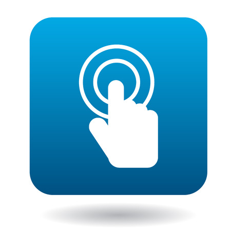 click with hand: Click hand icon in simple style on a white background Illustration