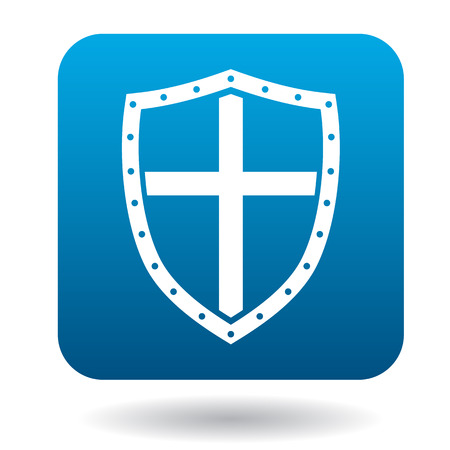 iron defense: Shield icon in simple style in blue square. Protection symbol