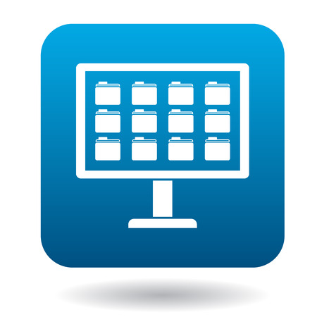 storing: Storing files in computer icon in simple style in blue square. Work with files symbol