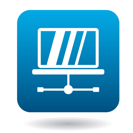 maintenance symbol: Tablet repair icon in simple style in blue square. Maintenance symbol