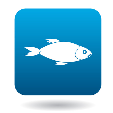 ichthyology: Fish icon in simple style in blue square. Animals symbol