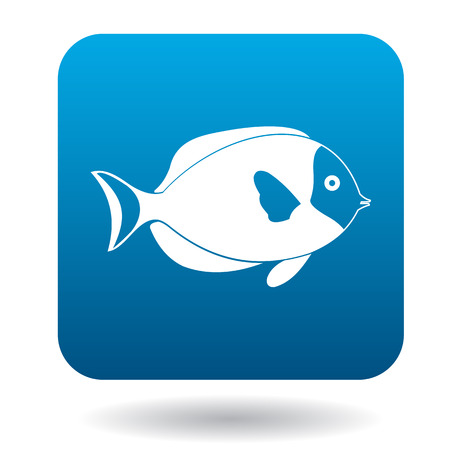 surgeon fish: Surgeon fish icon in simple style in blue square. Animals symbol Illustration