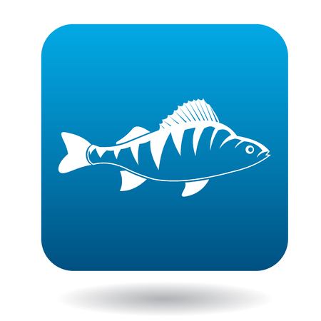 ichthyology: Perch fish icon in simple style in blue square. Animals symbol