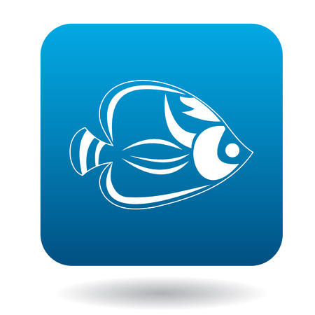 tang: Fish tang icon in simple style in blue square. Animals symbol Illustration