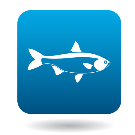 salmon leaping: Salmon fish icon in simple style in blue square. Animals symbol