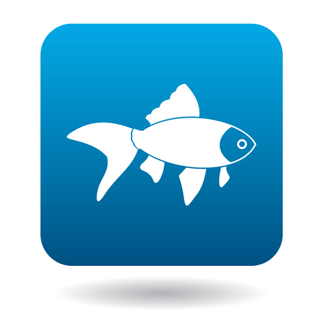 ichthyology: Goldfish icon in simple style in blue square. Animals symbol Illustration