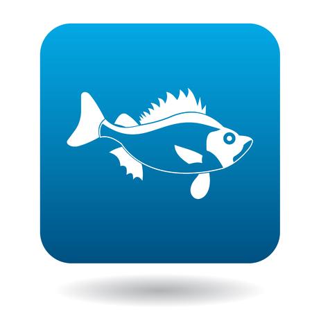 simple fish: Ruff fish icon in simple style in blue square. Animals symbol Illustration