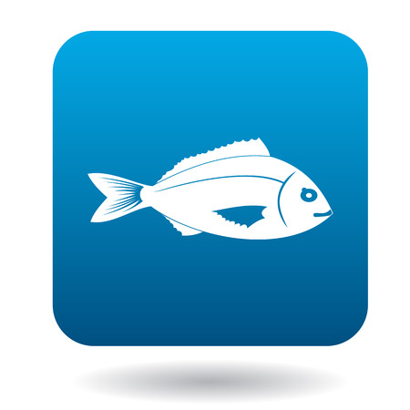 ichthyology: Saltwater fish icon in simple style in blue square. Animals symbol