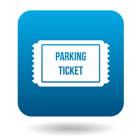 parking ticket: Parking ticket icon in simple style in blue square. Transport and service symbol