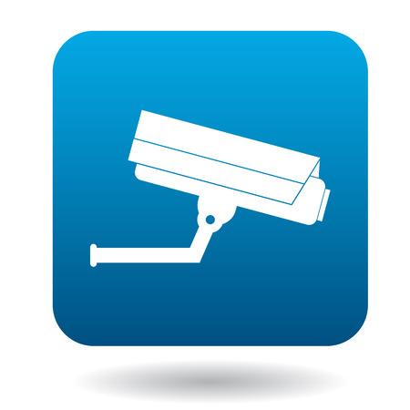 camera symbol: Surveillance camera icon in simple style in blue square. Video symbol
