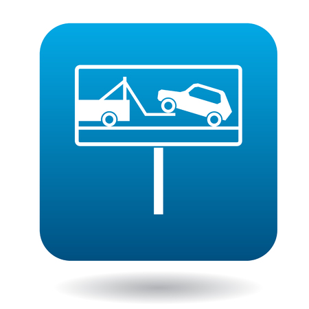 evacuation: Signs of evacuation of cars icon in simple style in blue square. Transport and service symbol Illustration