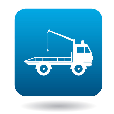 evacuate: Tow truck icon in simple style in blue square. Transport and service symbol Illustration