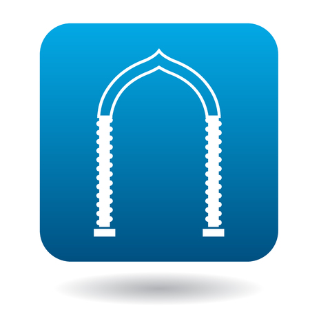 interiors: Ornamental arch icon in simple style in blue square. Construction and interiors symbol