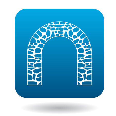 stone arch: Stone arch icon in simple style in blue square. Construction and interiors symbol Illustration