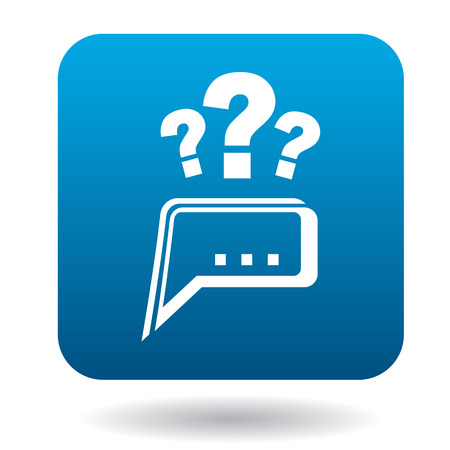 Questions to technical support icon in flat style in blue square. Service symbol