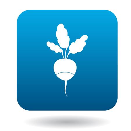 Radish with leaves icon in flat style on a white background Illustration