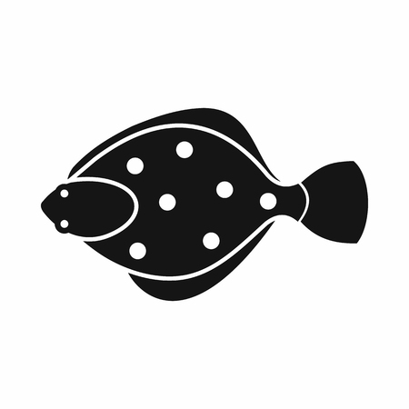flounder: Flounder fish icon in simple style isolated vector illustration