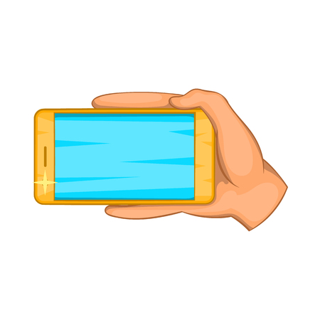 communication cartoon: Hand with mobile phone icon in cartoon style isolated on white background. Communication symbol Illustration