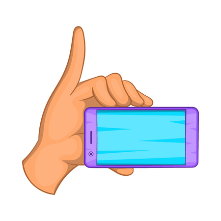 communication cartoon: Smartphone in hand icon in cartoon style isolated on white background. Communication symbol Illustration