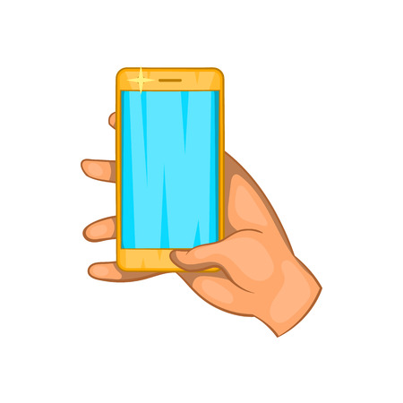 communication cartoon: Hand works on a mobile phone icon in cartoon style isolated on white background. Communication symbol Illustration