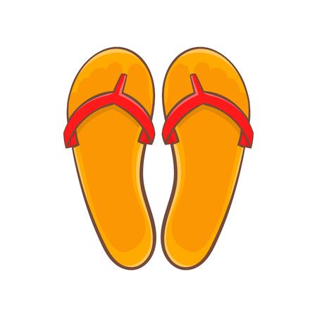 sandalias: Voltea icono de fracasos en el estilo de dibujos animados aislado en el fondo blanco. símbolo de zapatos de verano