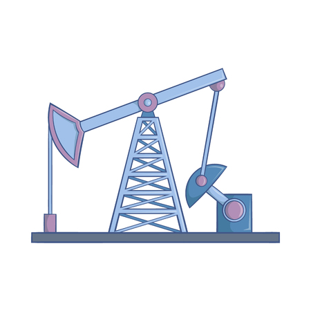 oilfield: Oil rig icon in cartoon style isolated on white background. Black gold symbol Illustration