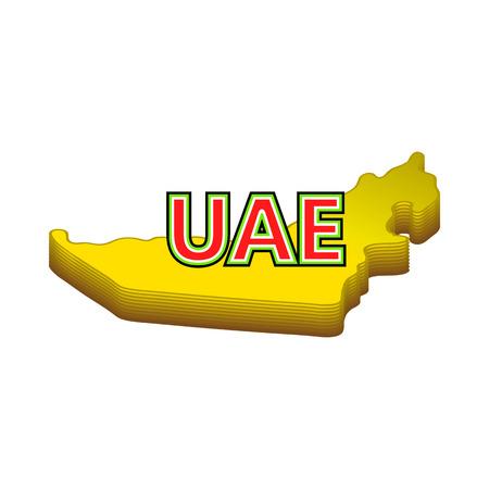 united arab emirate: Map of UAE icon in cartoon style isolated on white background. Geography symbol Illustration