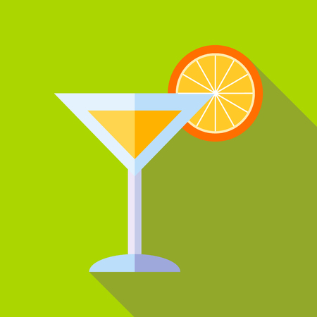 long drink: Cocktail with orange icon in flat style with long shadow. Drink symbol