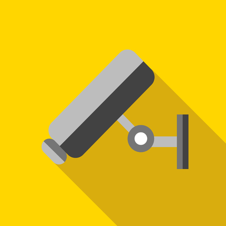 prevalence: Video surveillance camera icon in flat style with long shadow. Recording symbol Illustration