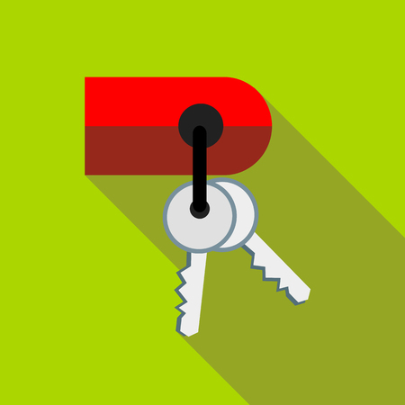 keyholder: Keys on keychain icon in flat style with long shadow. Accessories symbol
