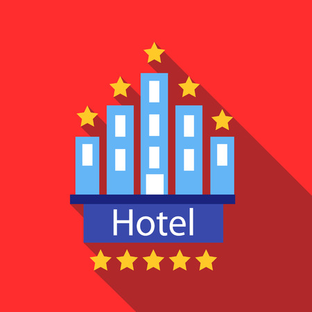 Hotel 5 stars icon in flat style with long shadow. Temporary residence symbol