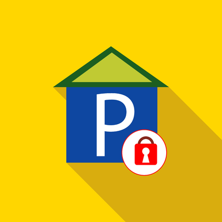 Closed parking icon in flat style with long shadow. Transport and service symbol