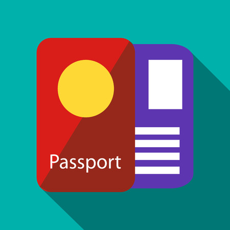 overseas: Passport icon in flat style with long shadow. Document symbol Illustration
