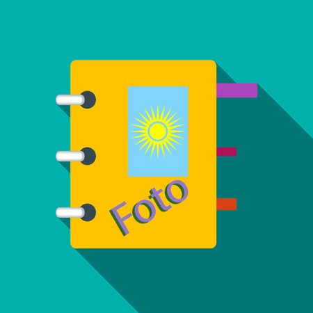 storing: Photo album icon in flat style with long shadow. Storing images symbol Illustration