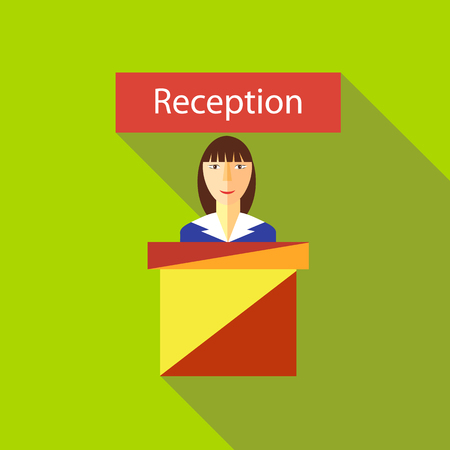guests: Reception in hotel icon in flat style with long shadow. Meeting guests symbol Illustration