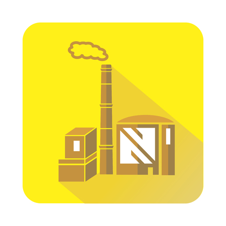 chemical plant: Chimney and building of chemical plant icon in flat style with long shadow. Chemistry symbol