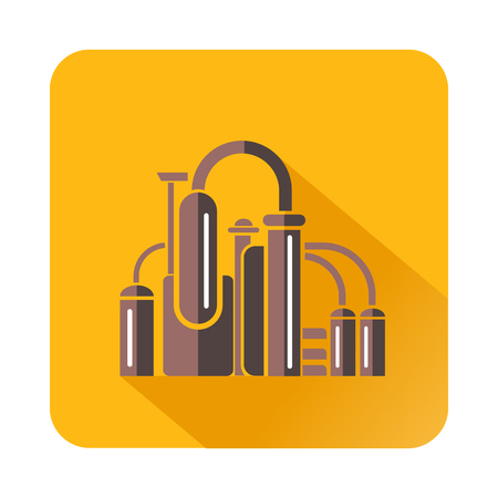 chemical equipment: Chemical equipment icon in flat style with long shadow. Chemistry symbol Illustration