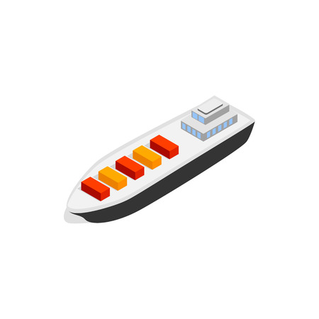 water carrier: Cargo ship icon in isometric 3d style isolated on white background. Maritime transport symbol Illustration